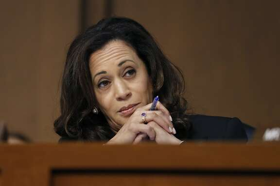 Sen. Kamala Harris, D-Calif., reacts during a Senate Intelligence Committee hearing about the Foreign Intelligence Surveillance Act, on Capitol Hill, Wednesday, June 7, 2017, in Washington. (AP Photo/Alex Brandon)