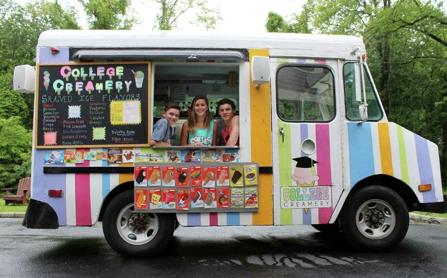 Wilton siblings Justin, Julia and Jack Lewis own the College Creamery, an ice cream truck serving Wilton and the surrounding Fairfield County. Photo: Stephanie Kim / Hearst Connecticut Media