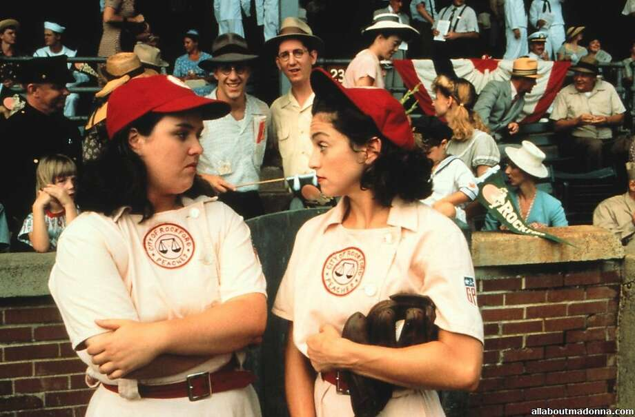 Rosie O'Donnell (left) and Madonna suit up for the Rockford Peaches. Photo: Columbia Pictures, 1992