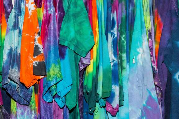 . Tie-dye, here at a do-it- yourself shop in Santa Cruz, symbolizes the era
