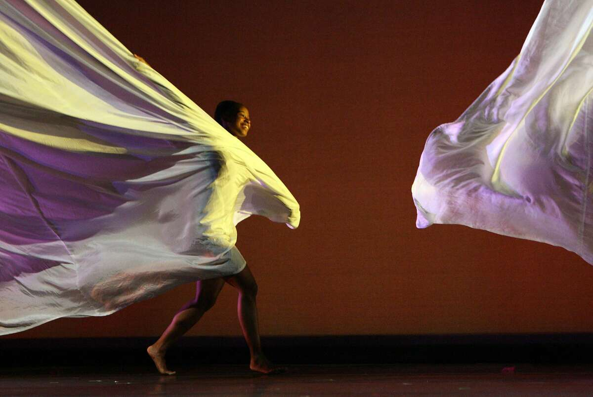 Patricia West of the Joe Goode Performance Group performs Wonderboy, a new dance theater work that incorporates puppetry, during a dress rehearsal at the Yerba Buena Center for the Arts in San Francisco, Calif., on Thursday, June 5, 2008.
