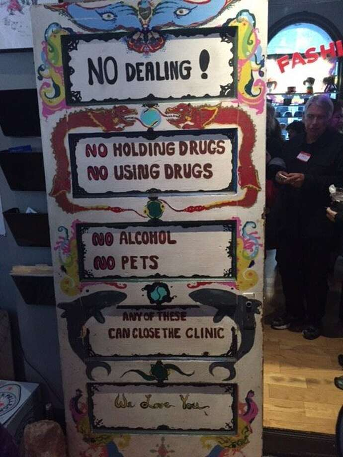 Sign on the Haight-Asbury Free Clinic door at the 50th anniversary party. Photo: Leah Garchik, San Francisco Chronicle