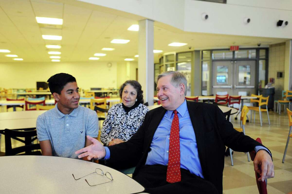 Stamford mayor David Martin speaks about what the Starfish Connection program meant to him and his late wife Judy while sitting with the first three program graduates inside AITE in Stamford, Conn. on Monday, June 5, 2017.