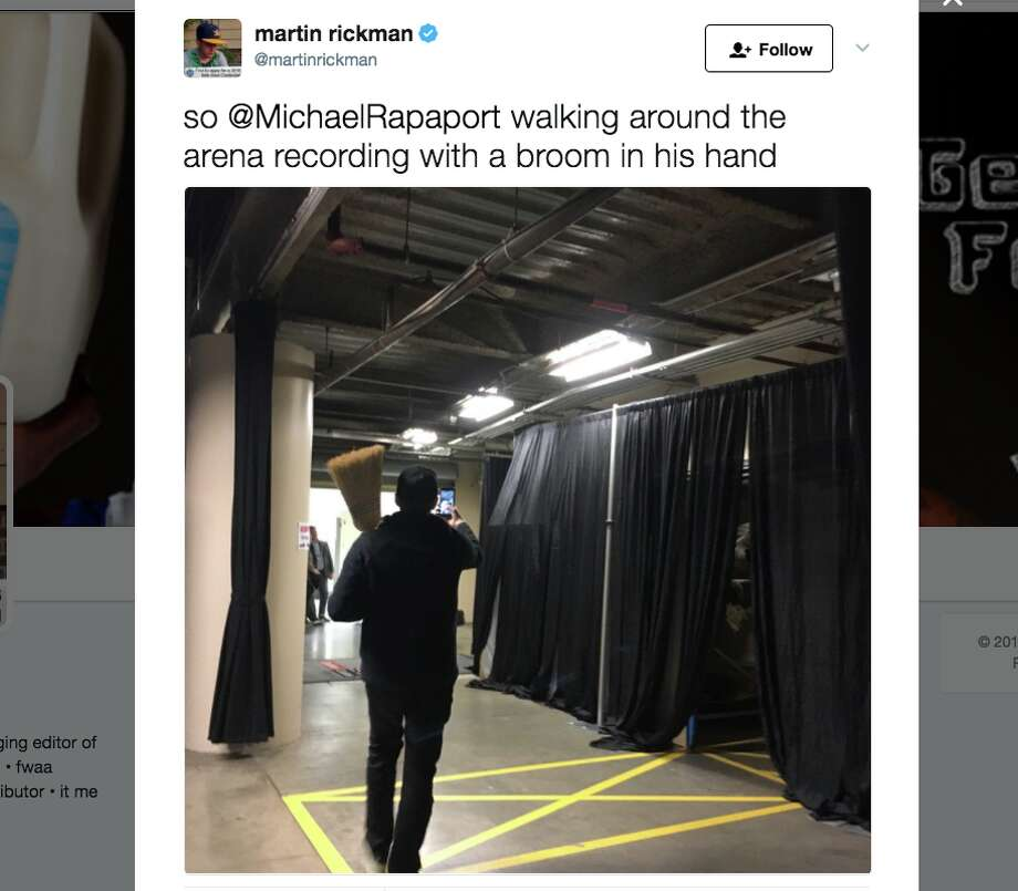 Actor Michael Rapaport turned heads at Game 3 of the NBA Finals in Cleveland by carrying a broom with him. Photo: @MartinRickman/Twitter