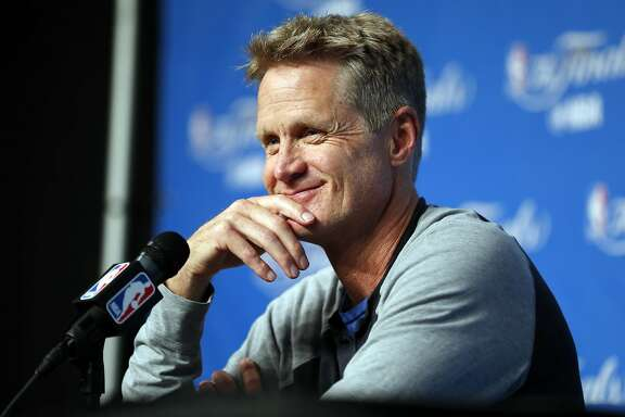 Golden State Warriors' head coach Steve Kerr during press availability on practice day during NBA Finals at Quicken Loans Arena in Cleveland, Ohio, on Thursday, June 8, 2017.