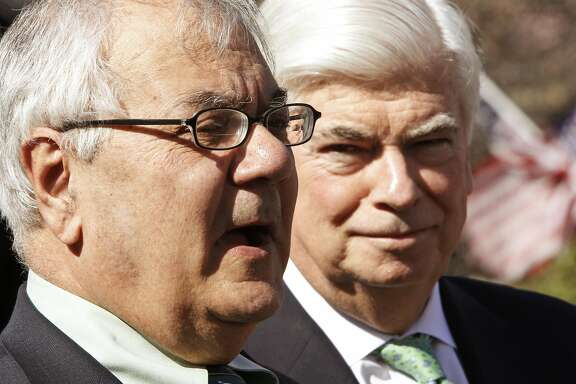 House Financial Services Committee Chairman Rep. Barney Frank, D-Mass., left, accompanied by Senate Banking Committee Chairman Sen. Christopher Dodd, D-Conn., talks to reporters outside the White House in Washington, Wednesday, March 24, 2010, after a closed door meeting with President Barack Obama in the Oval Office to discuss financial reform. (AP Photo/Charles Dharapak)
