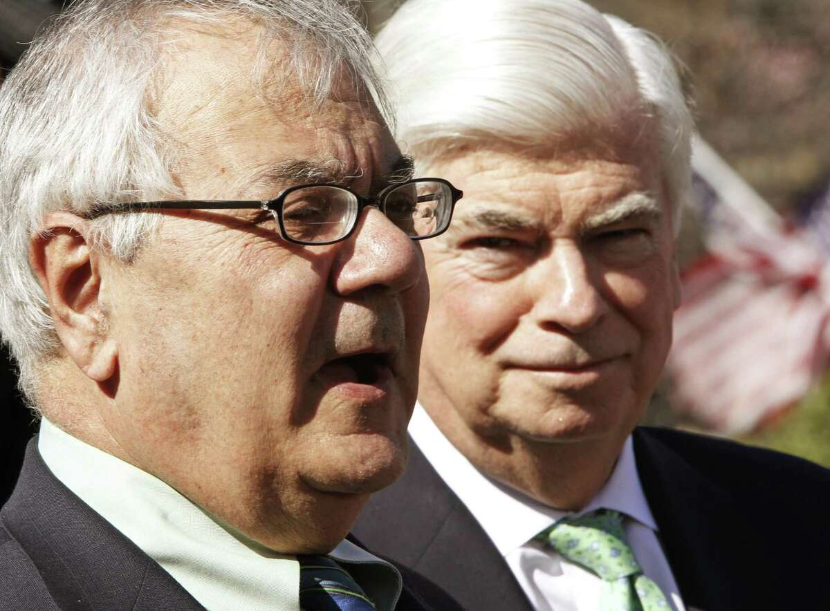 In 2010, House Financial Services Committee Chairman Rep. Barney Frank, D-Mass. (left), accompanied by Senate Banking Committee Chairman Sen. Christopher Dodd, D-Conn., talk to reporters outside the White House, after a meeting with President Barack Obama in the Oval Office to discuss financial reform. On Thursday, the GOP-controlled House voted for legislation that will wipe away much of the financial regulations created by the Dodd-Frank Act.