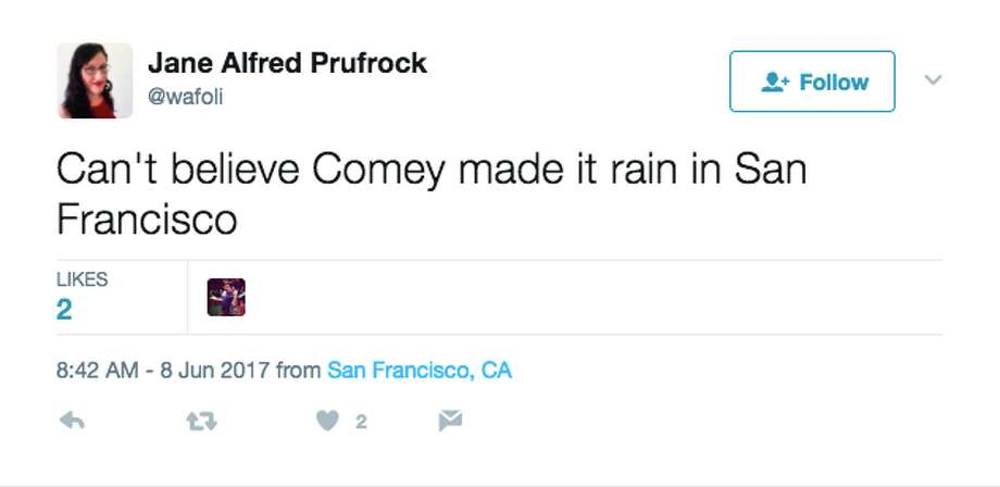 Locals react on social media to the rare June rain the Bay Area received Thursday morning.   Photo: Screenshot Via Twitter