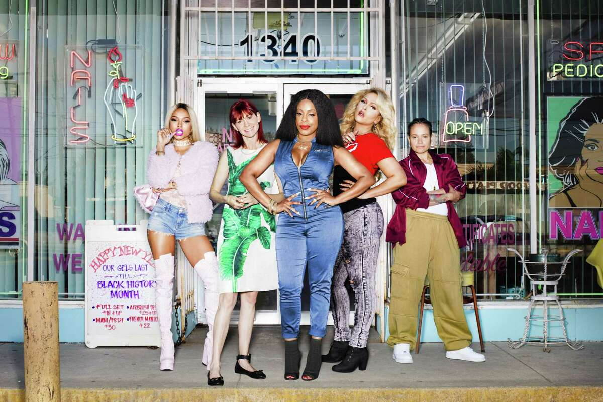 Desna (Niecy Nash, center) and her nail crew, Virginia (Karrueche Tran, left), Polly (Carrie Preston), Jennifer (Jen Lyon), and Quiet Ann (Judy Reyes) in their eclectic, brightly colored looks designed by Dana Covarrubias.