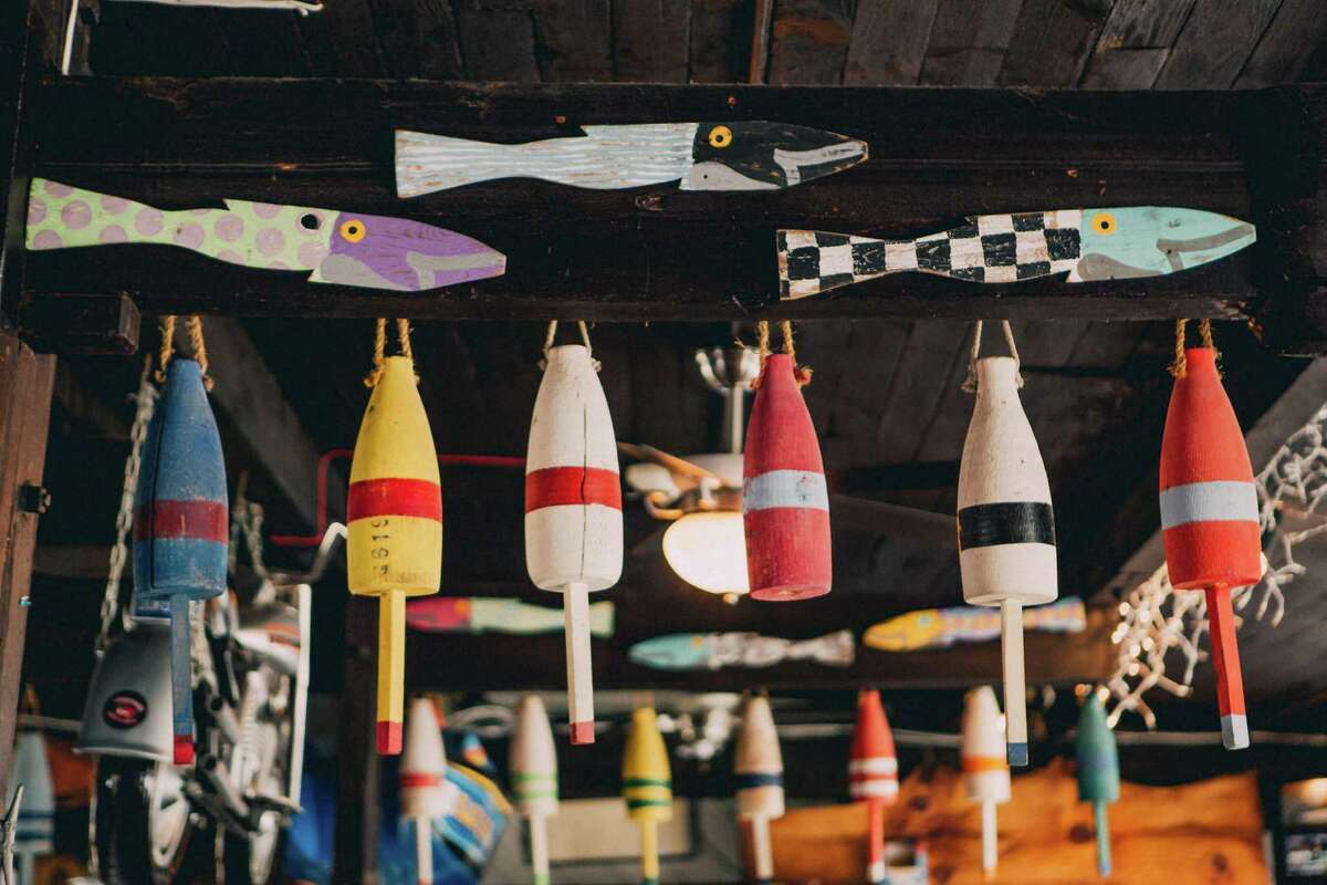 One of the many whimsical boat-themed decorations in the Black Duck Cafe.