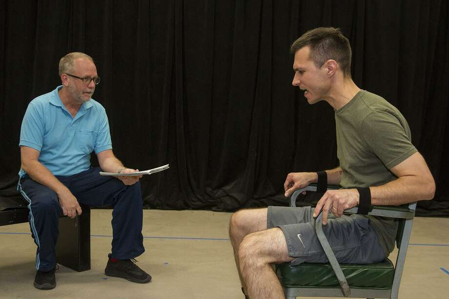 "Andrew Thornton (left) and Zach Lewis rehears a scene for ""Nine Circles,"" the first production for the Surround Project. Photo: Alma E. Hernandez /For The San Antonio Express News"