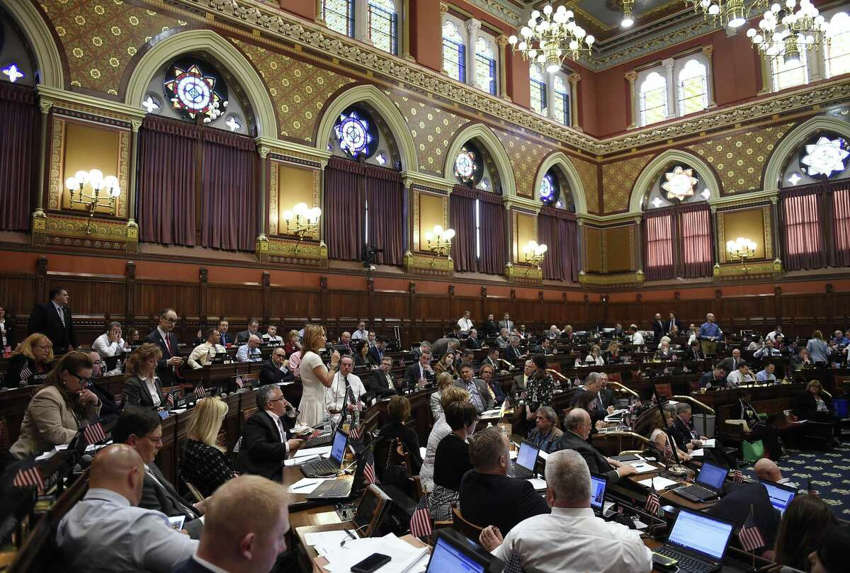 House Minority Leader Themis Klarides, R-Derby, speaks to the House on the final day of session at the State Capitol, Wednesday, June 7, 2017, in Hartford, Conn.