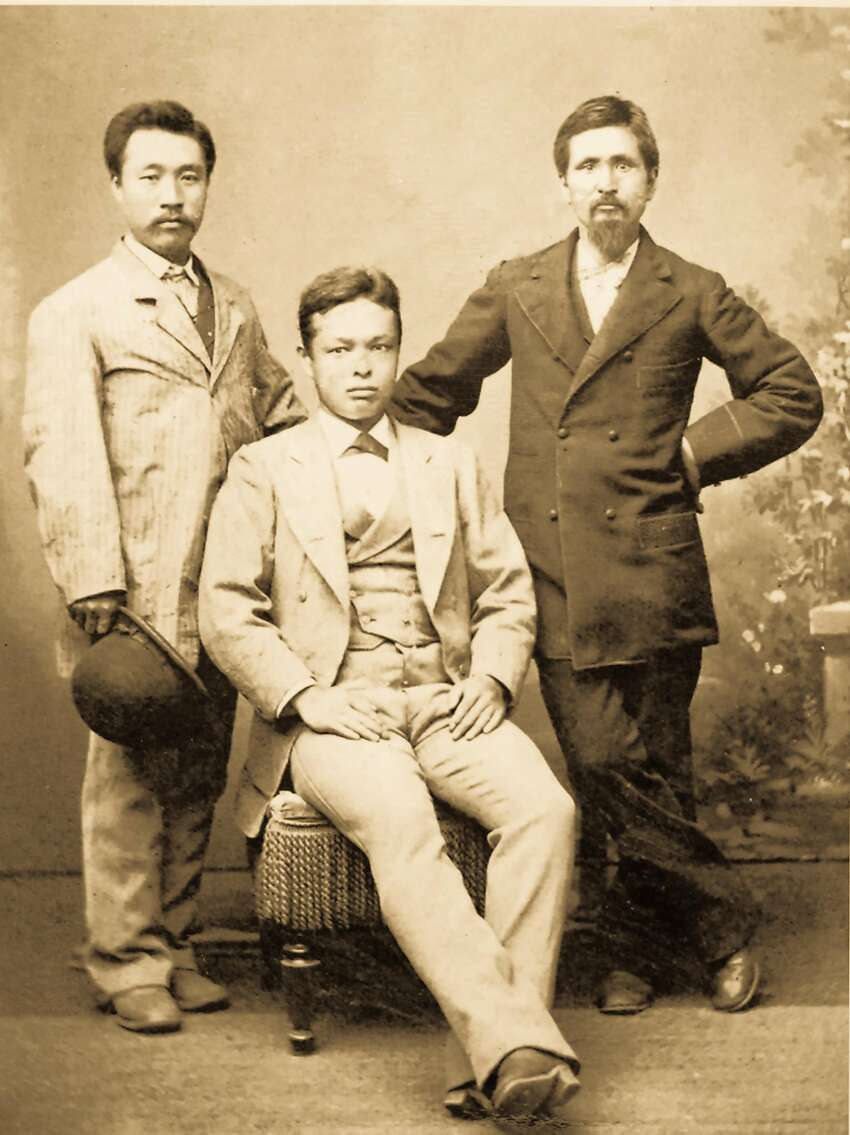 The photograph is among many donated to the California state parks system to celebrate the history of the Wakamatsu colony. The colony's leader, John Henry Schnell, is believed to be the gentleman on the right. The identity of the other colonists is not known.
