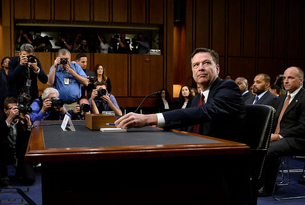 Former FBI Director James Comey testifies during a U.S. Senate Select Committee on Intelligence hearing on Thursday, June 8, 2017 on Capitol Hill in Washington, D.C. (Olivier Douliery/Abaca Press/TNS)