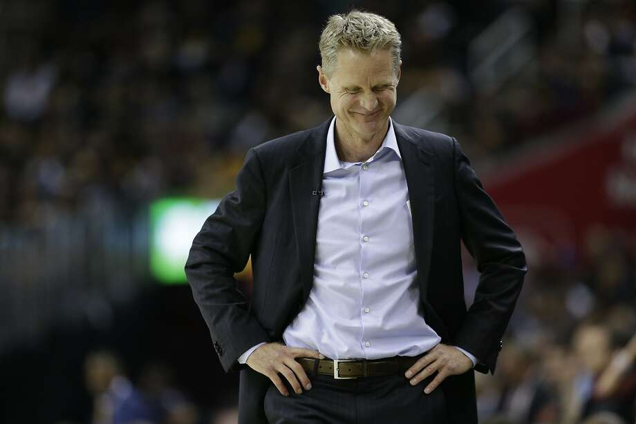 Golden State Warriors head coach Steve Kerr smiles against the Cleveland Cavaliers during the first half of Game 3 of basketball's NBA Finals in Cleveland, Wednesday, June 7, 2017. (AP Photo/Tony Dejak) Photo: Tony Dejak, Associated Press