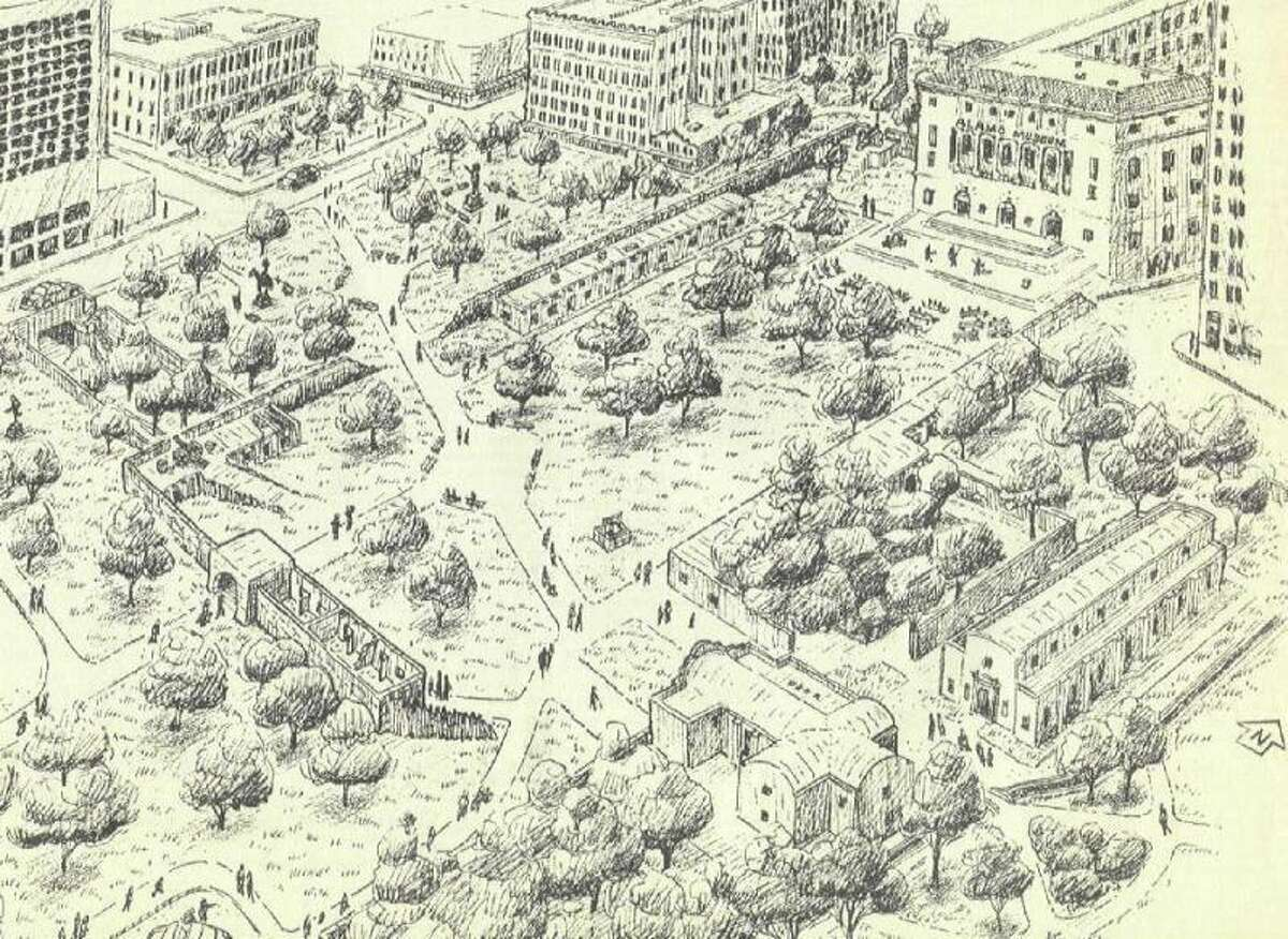San Antonio Express-News columnist David Anthony Richelieu developed this plan for Alamo Plaza in 1994, as shown in an illustration by Felipe Soto. The plan, then estimated to cost $32 million, recommended demolition of several building in the plaza, and relocation of the 1880s Crockett Building, to provide room for partial reconstruction of the historic mission-fortress in a park-like setting.