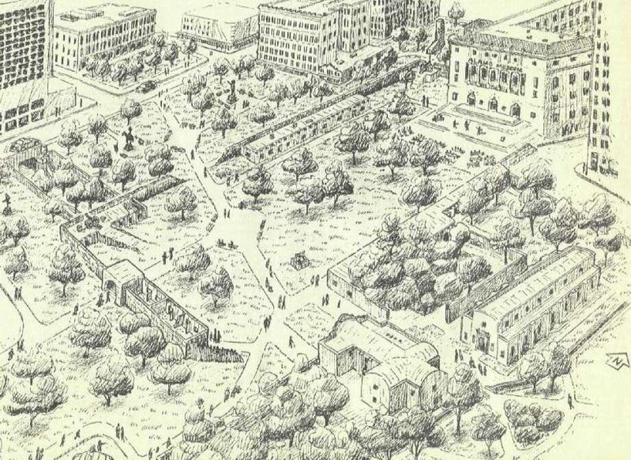 Former San Antonio Express-News columnist David Anthony Richelieu developed this plan for Alamo Plaza in 1994, as shown in an illustration by Felipe Soto. The plan, then estimated to cost $32 million, recommended demolition of several building in the plaza, and relocation of the 1880s Crockett Building, to provide room for partial reconstruction of the historic mission-fortress in a park-like setting. Photo: Express-News Archives