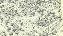 Former San Antonio Express-News columnist David Anthony Richelieu developed this plan for Alamo Plaza in 1994, as shown in an illustration by Felipe Soto. The plan, then estimated to cost $32 million, recommended demolition of several building in the plaza, and relocation of the 1880s Crockett Building, to provide room for partial reconstruction of the historic mission-fortress in a park-like setting.