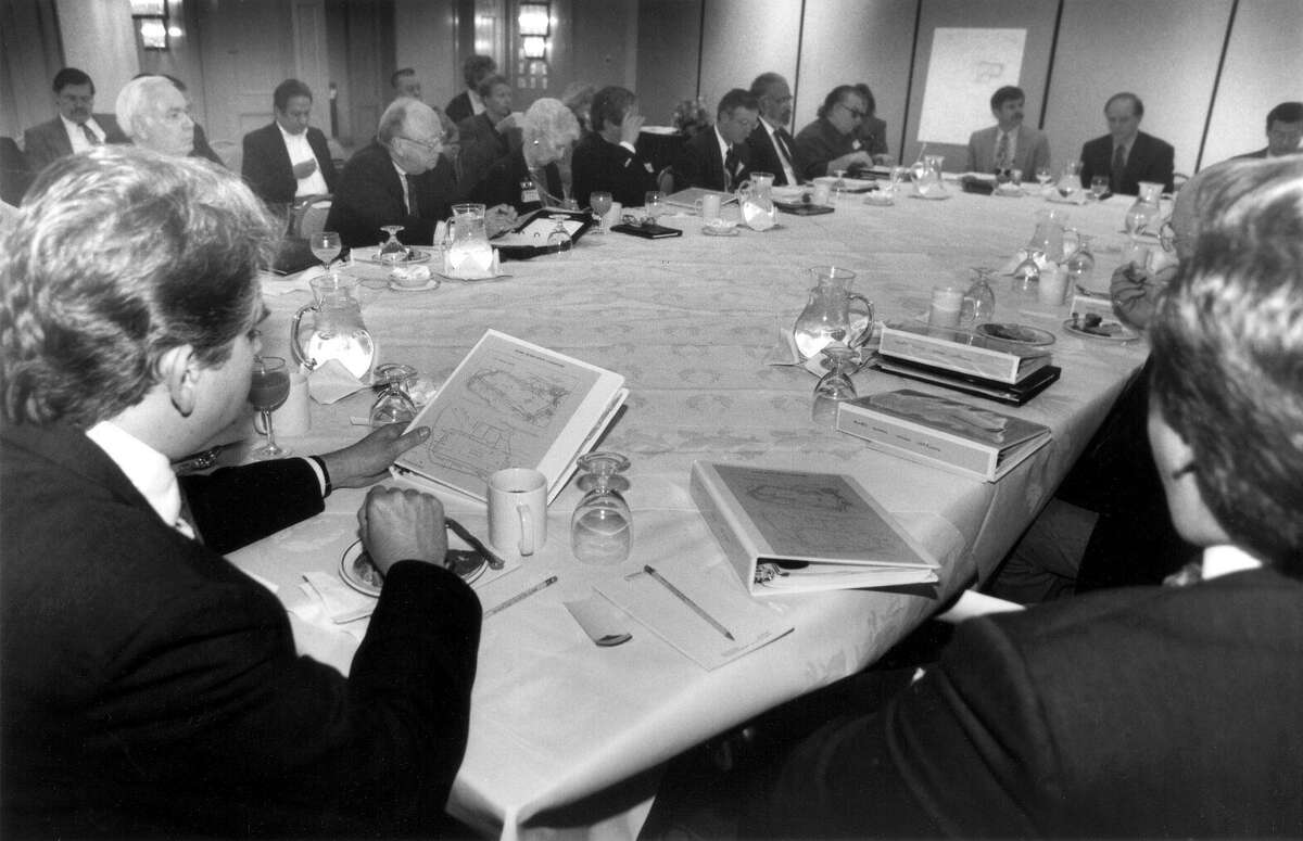 Members of the Alamo Plaza Study Committee begin their six-month study on traffic and other issues affecting the plaza. The first meeting was March 10, 1994 at the Menger Hotel. The group decided not to recommend reconstruction of the original 1836 Alamo compound, but endorsed closing streets around the shrine to traffic.