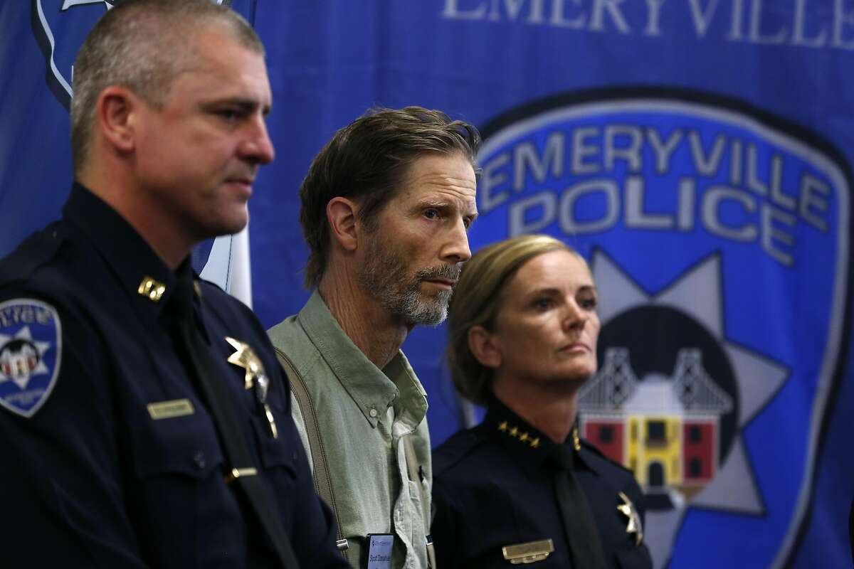 Emeryville Police Capt. Oliver Collins, Mayor Scott Donahue and Police Chief Jennifer Tejada appear at a news conference in Emeryville, Calif. on Thursday, June 8, 2017 where photographs of a suspect wanted for questioning in the May 13 arson fire at a residential building under construction were released to the public.