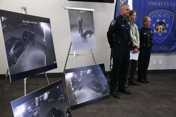 Emeryville Police Capt. Oliver Collins, Mayor Scott Donahue and Police Chief  Jennifer Tejada stand with photographs of a suspect wanted for questioning in the May 13 arson fire at a residential building under construction, at a news conference in Emeryville, Calif. on Thursday, June 8, 2017.