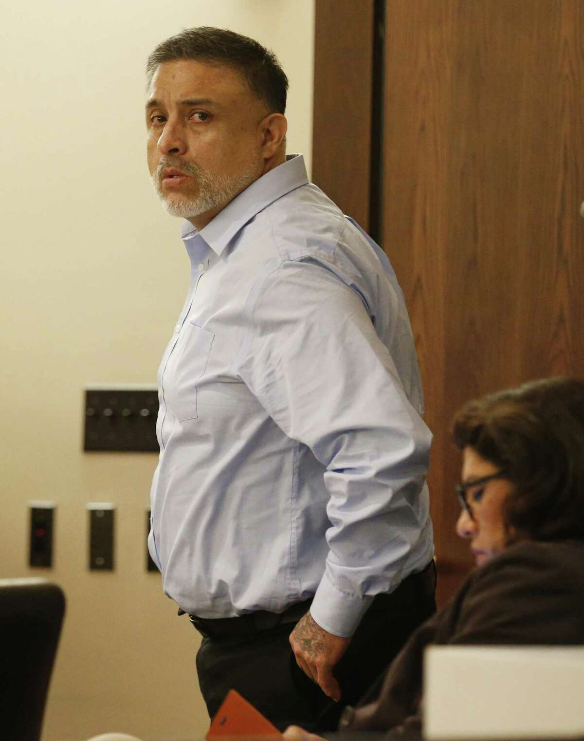 Testimony continues in the murder trial of Joel Soto (pictured), accused of setting a fire in his pickup to hide the fact that his two-year-old grandson, Jeremy Soto, was already dead, possibly from ingesting methamphetamine. The trial continued in 379th state District Court, presided by Judge Ron Rangel at Cadena-Reeves Justice Center on Thursday, June 8, 2017. (Kin Man Hui/San Antonio Express-News)
