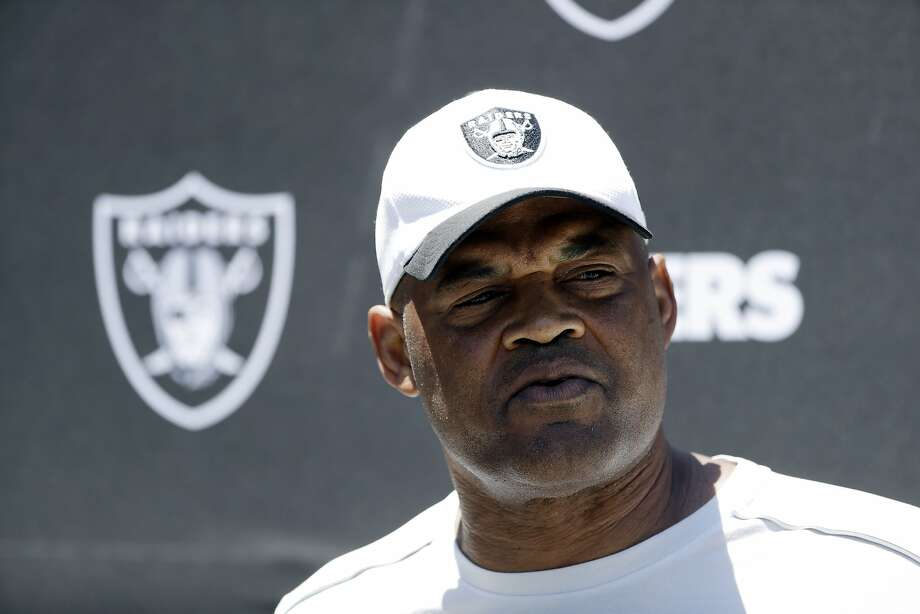 Oakland Raiders defensive coordinator Ken Norton Jr. fields questions after the team's organized team activity at its NFL football training facility Tuesday, June 6, 2017, in Alameda, Calif. (AP Photo/Marcio Jose Sanchez) Photo: Marcio Jose Sanchez, Associated Press