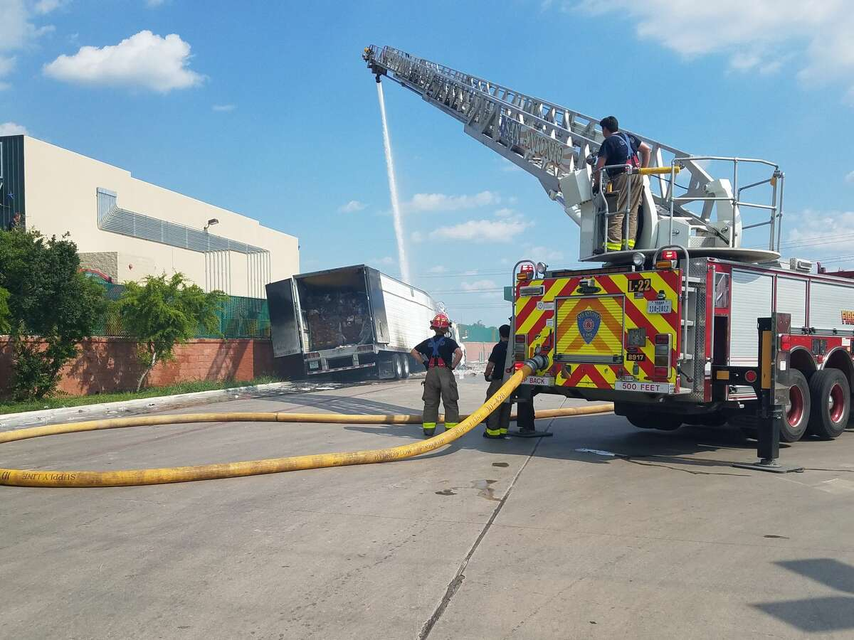 A semi-truck hauling ice cream caught fire Thursday June 8, 2017, on the South Side off Loop 410 and Southton Road.