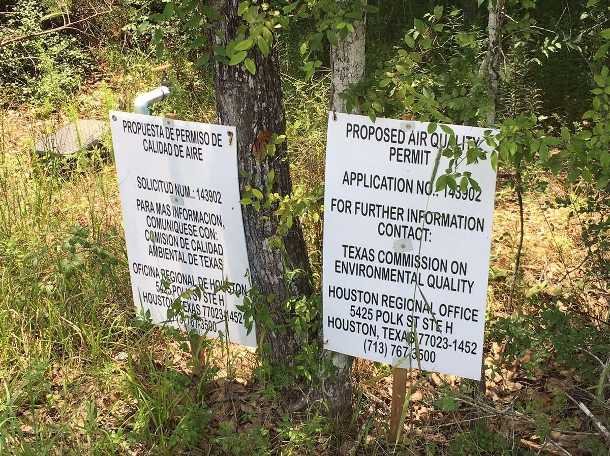 A closeup view of the sign at the site of a proposed concrete batch plant near Magnolia.