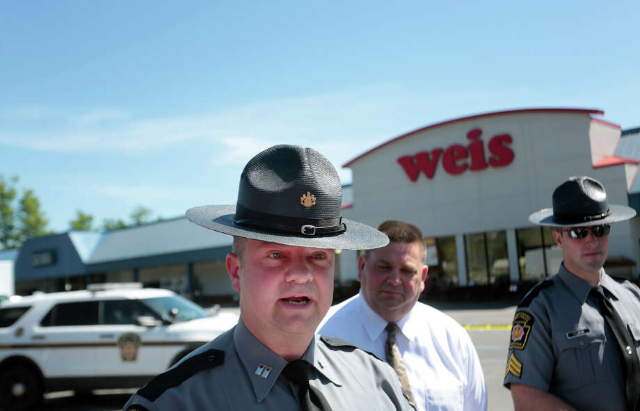 Pennsylvania State Police Troop P Commanding Officer Jonathan Nederostek gives a statement to the press as the State Police investigate the murder of three people and the suicide of the shooter 24-year-old Randy Robert Stair, of Dallas, Pa., at the Weis Supermarket on the Hunter Highway in Eaton Township, Pa., on Thursday, June 8, 2017. Stair barricaded entrances and exits, one person was able to escape. (Jake Danna Stevens/ The Times-Tribune, Via AP) Photo: Jake Danna Stevens, MBI / The Times & Tribune