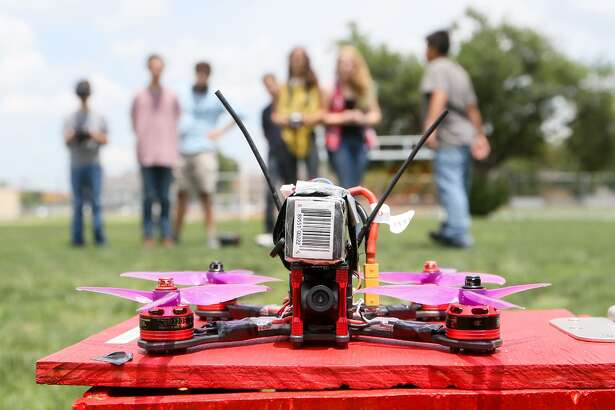 The Roosevelt High School Data Drone Club prepares to launch their self-built drone on its maiden flight at the school on Tuesday, May 30, 2017.  MARVIN PFEIFFER/ mpfeiffer@express-news.net