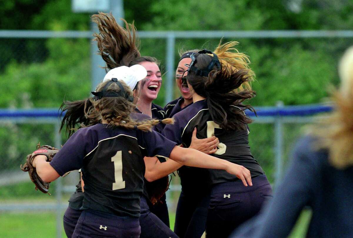 Joel Barlow celebrates its win over Fitch during Class L softball action in West Haven, Conn. on Thursday June 8, 2017.