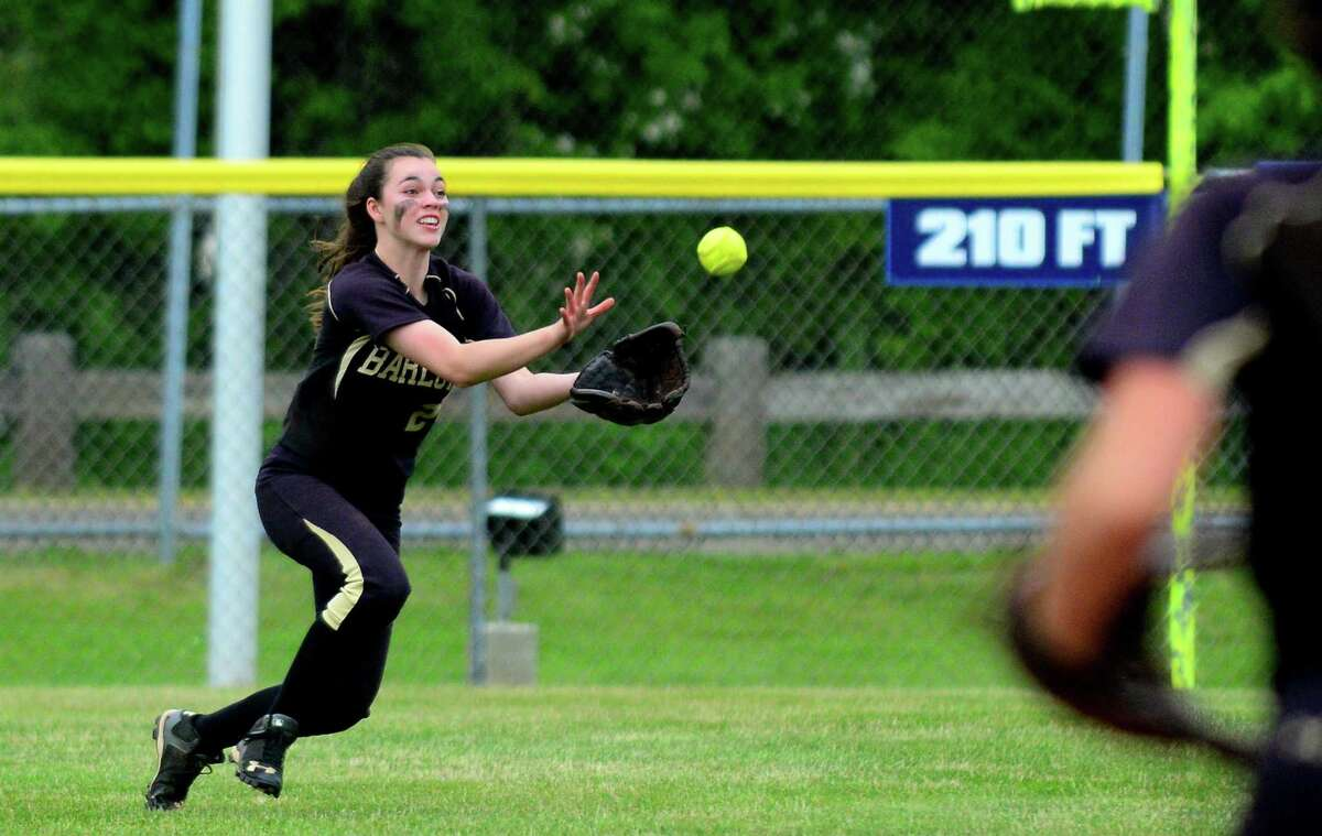 Joel Barlow right fielder Scotland Davis catches a pop fly for the final out to beat Fitch Class L softball action in West Haven, Conn. on Thursday June 8, 2017.
