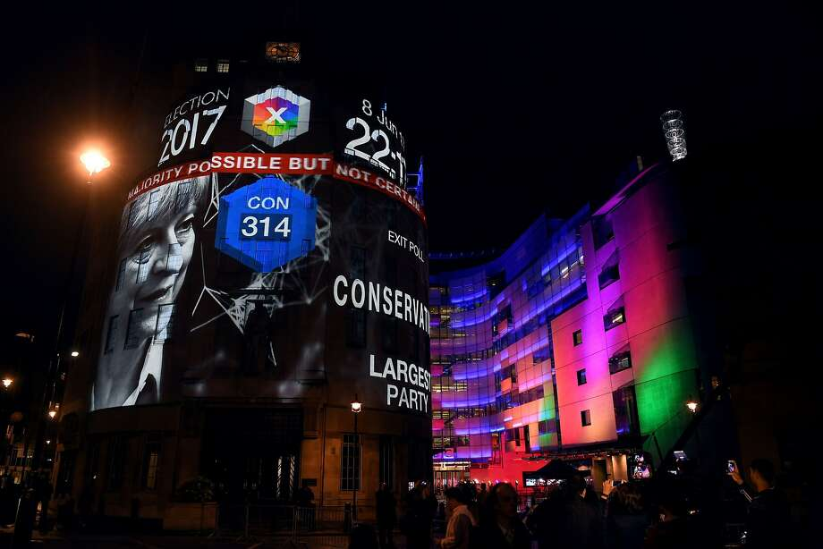 An exit poll predicting that the Conservative Party led by Theresa May will win 314 seats in the British general election is projected onto BBC Broadcasting House, Portland Place, in London, on June 8, 2015, after the polls closed.  Prime Minister Theresa May is poised to win Britain's snap election but lose her parliamentary majority, a shock exit poll suggested on June 8, in what would be a major blow for her leadership as Brexit talks loom. The Conservatives were set to win 314 seats, followed by Labour on 266, the Scottish National Party on 34 and the Liberal Democrats on 14, the poll for the BBC, Sky and ITV showed.  / AFP PHOTO / Paul ELLISPAUL ELLIS/AFP/Getty Images Photo: PAUL ELLIS, AFP/Getty Images