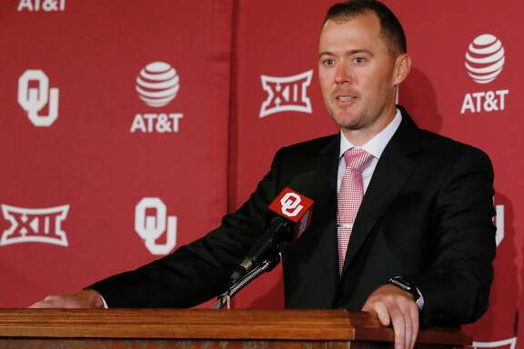 Lincoln Riley speaks at a news conference after being named football coach at Oklahoma in Norman, Okla., Wednesday, June 7, 2017. (AP Photo/Sue Ogrocki)