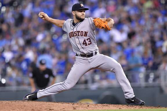 Houston Astros pitcher Lance McCullers Jr. throws in the seventh inning against the Kansas City Royals at Kauffman Stadium in Kansas City, Mo., on Thursday, June 8, 2017. (John Sleezer/Kansas City Star/TNS)