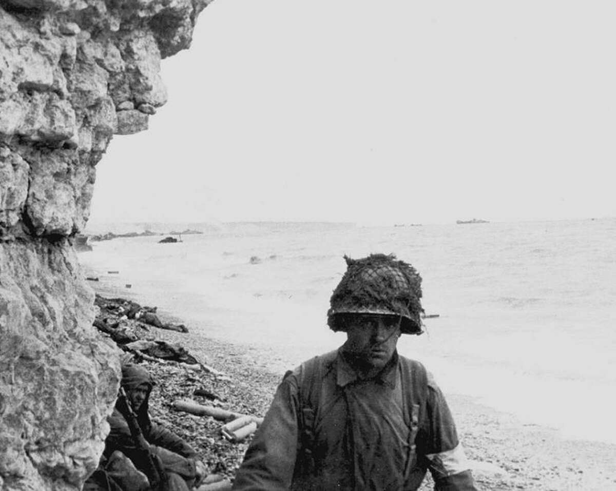 A medic from the 1st Infantry Division on Omaha Beach during the invasion of France on June 6, 1944.