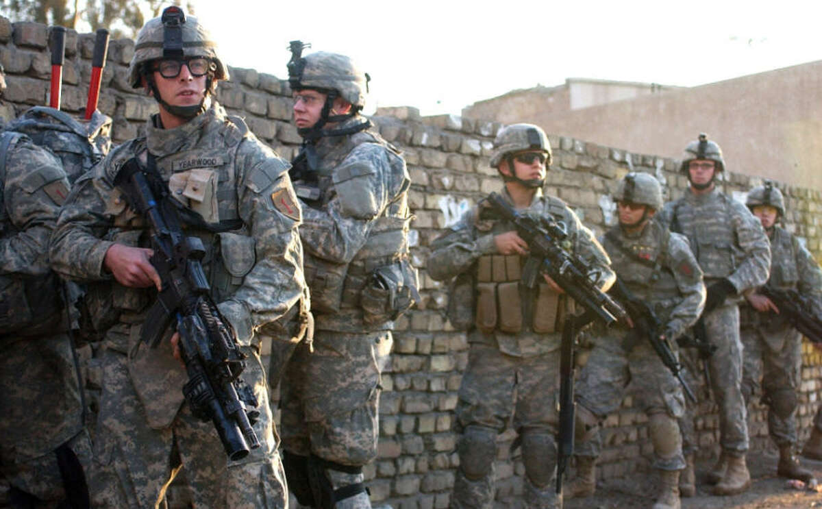 Soldiers from the 1st Infantry Division in Iraq.