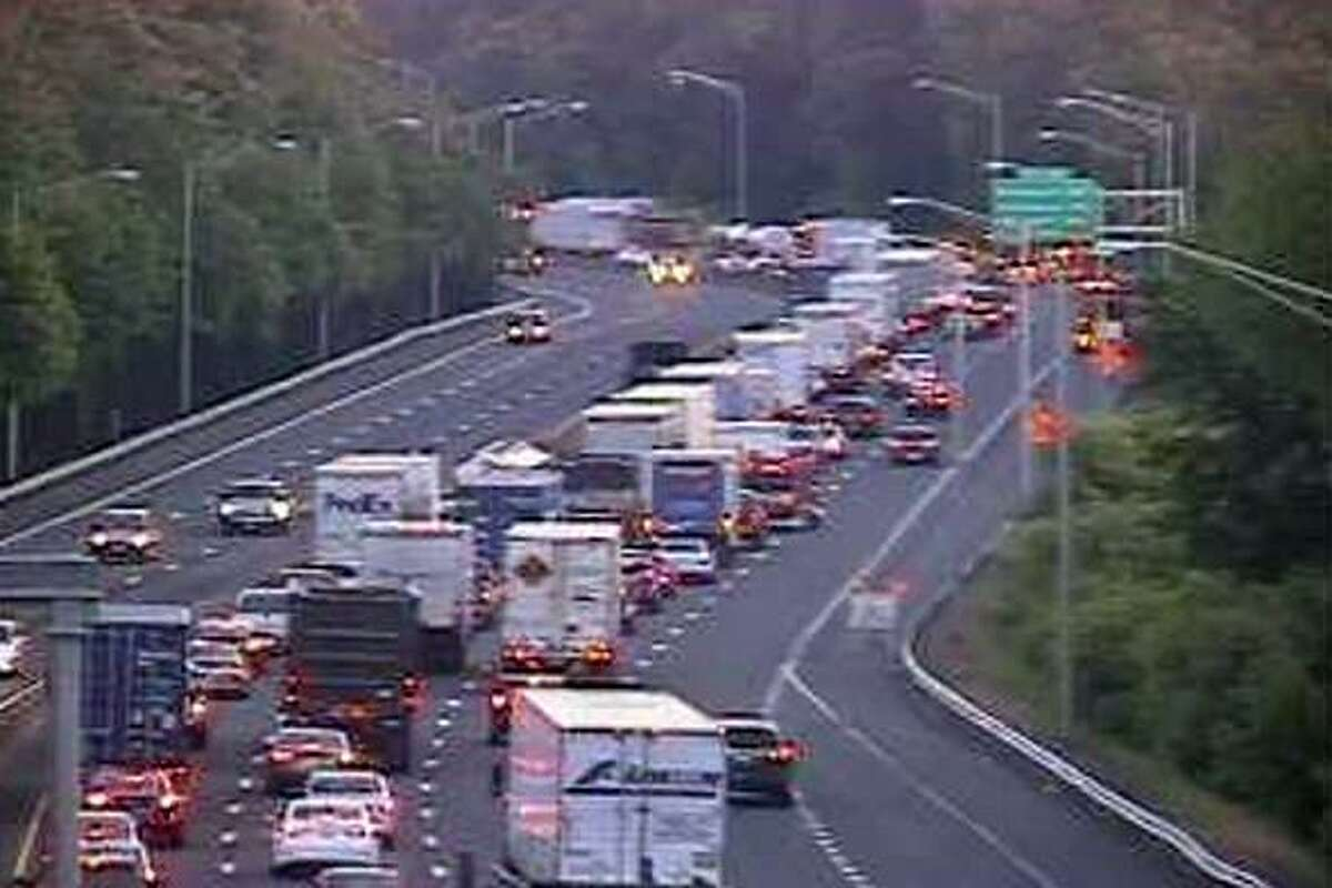 Northbound I-91 traffic is jammed in Wethersfield because of a fatal crash involving a dump truck on Friday, June 9, 2017.