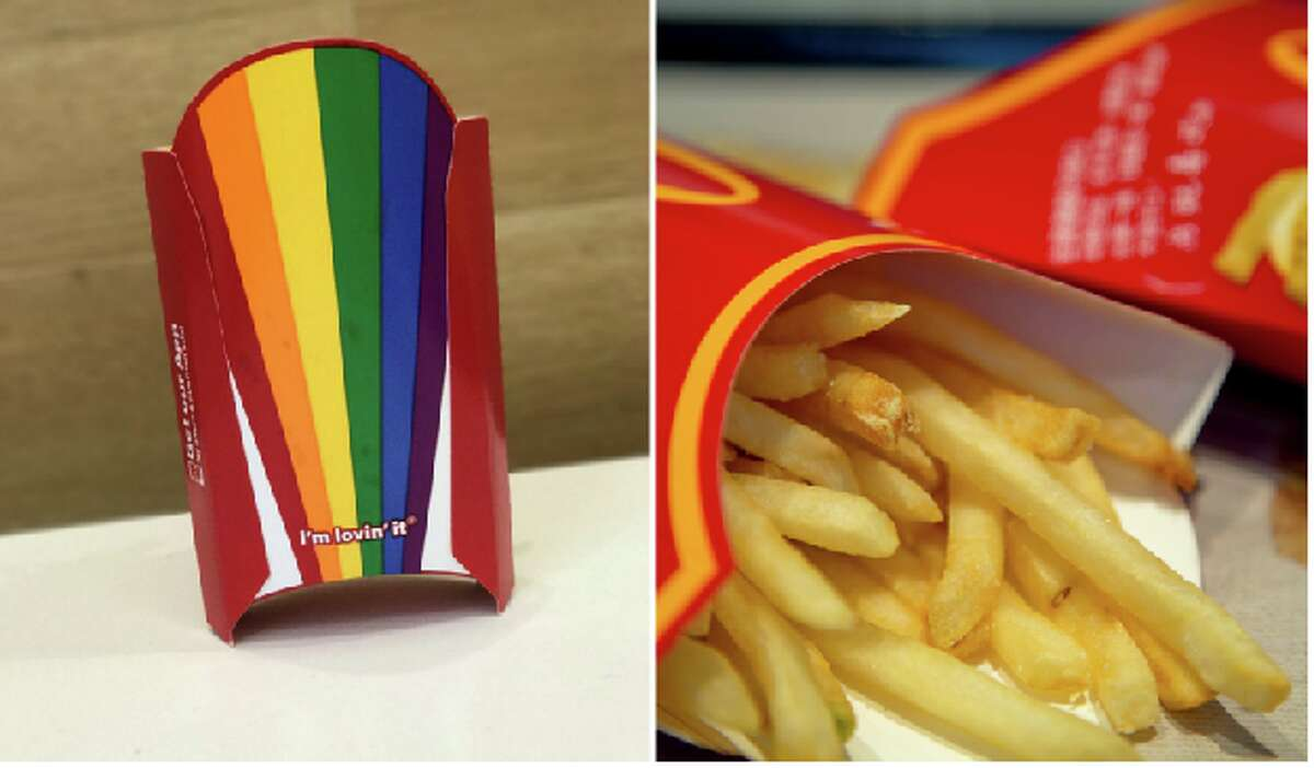 McDonald's introduced fries in a rainbow box (pictured left) at locations in nine Bay Area counties.