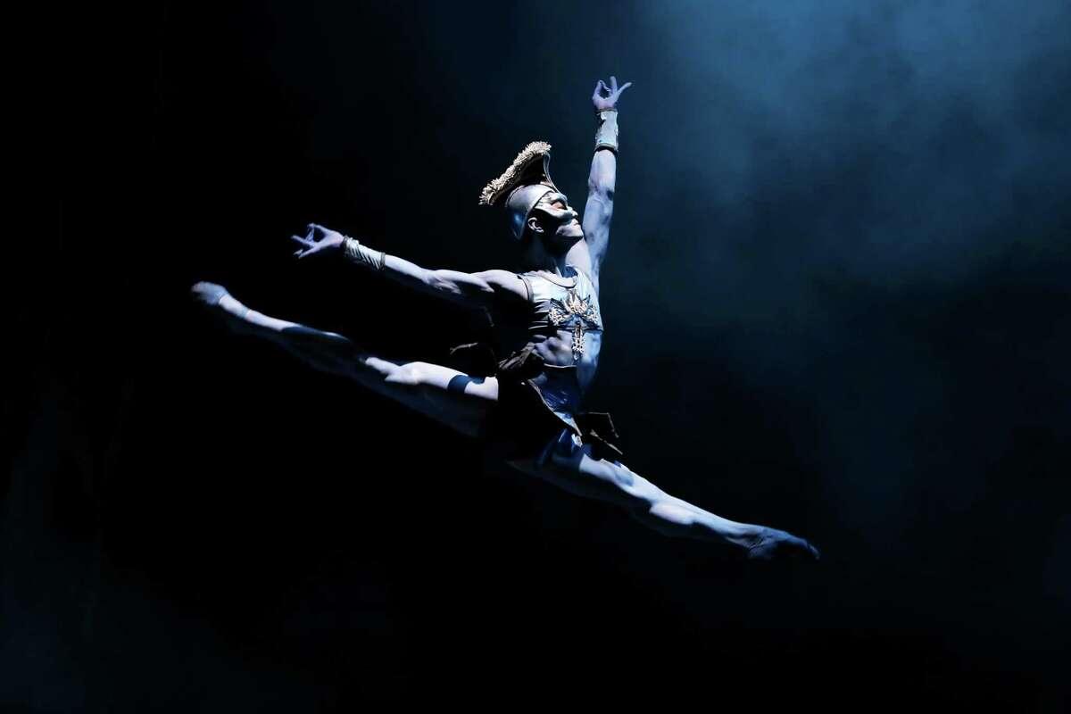"Houston Ballet soloist Chun Wai Chan as Garuda in Stanton Welch's ""La Bayadere."""