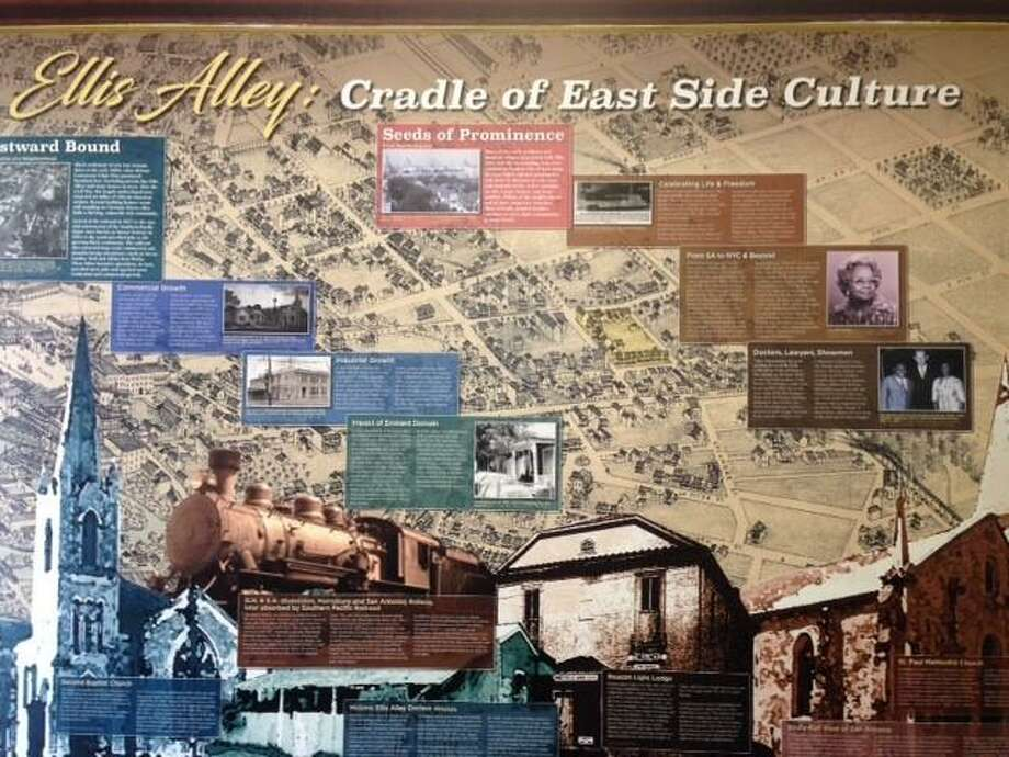 A set of panels on view in the office of San Antonio for Growth on the East Side and the VIA Metropolitan Transit & Ride Center on Chestnut Street highlights the history of Ellis Alley. Photo: Courtesy Photo / Courtesy Photo