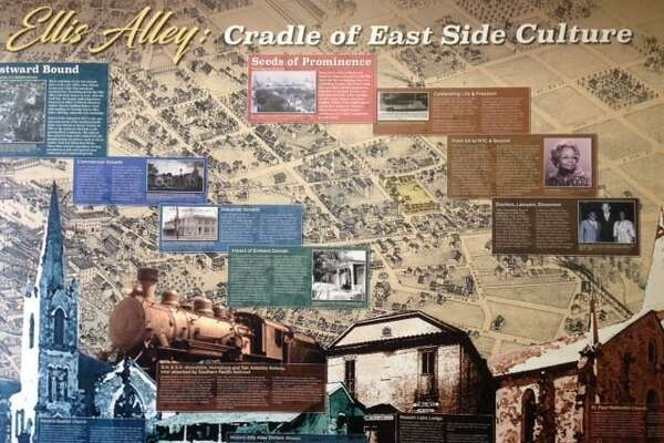 A set of panels on view in the office of San Antonio for Growth on the East Side and the VIA Metropolitan Transit & Ride Center on Chestnut Street highlights the history of Ellis Alley.