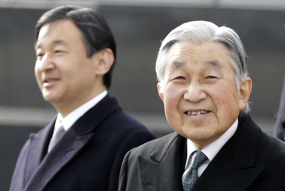 Japan's Emperor Akihito (right), 83, walks with Crown Prince Naruhito last year in Tokyo. Photo: Eugene Hoshiko, Associated Press