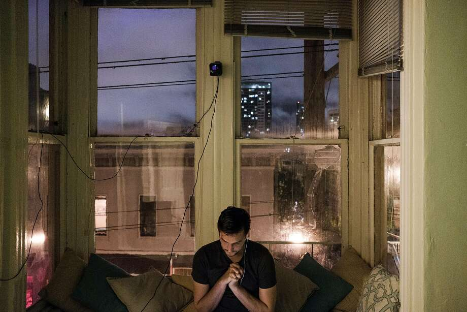 June 8, 2017 - Daniel Kravtsov works on his computer late at night at his home in Hayes Valley.  Kravtsov is one of thousands of foreign entrepreneurs who try and make it in the U.S. To do so, foreigners often have to jump through hoops to succeed. As a Russian immigrant, most of Kravtsov's team is still in Russia (which he has been unable to bring them over to the U.S. because of strict visa laws). In order to work with his team overseas, Kravtsov must work from until 3am every night (after a full work day). (Nick Otto Special to the Chronicle) Photo: Nick Otto, Special To The Chronicle