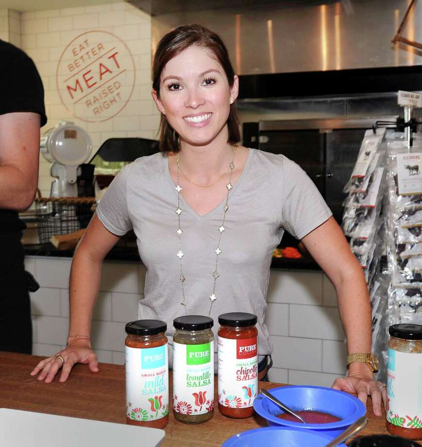 Greenwich-based entrepreneur Gabriella Burke with her new Pure Cocina Salsa line during a make-your-own taco night at Fleishers Craft Butchery in the Cos Cob section of Greenwich, Conn., Thursday, June 8, 2017. Photo: Bob Luckey Jr. / Hearst Connecticut Media / Greenwich Time