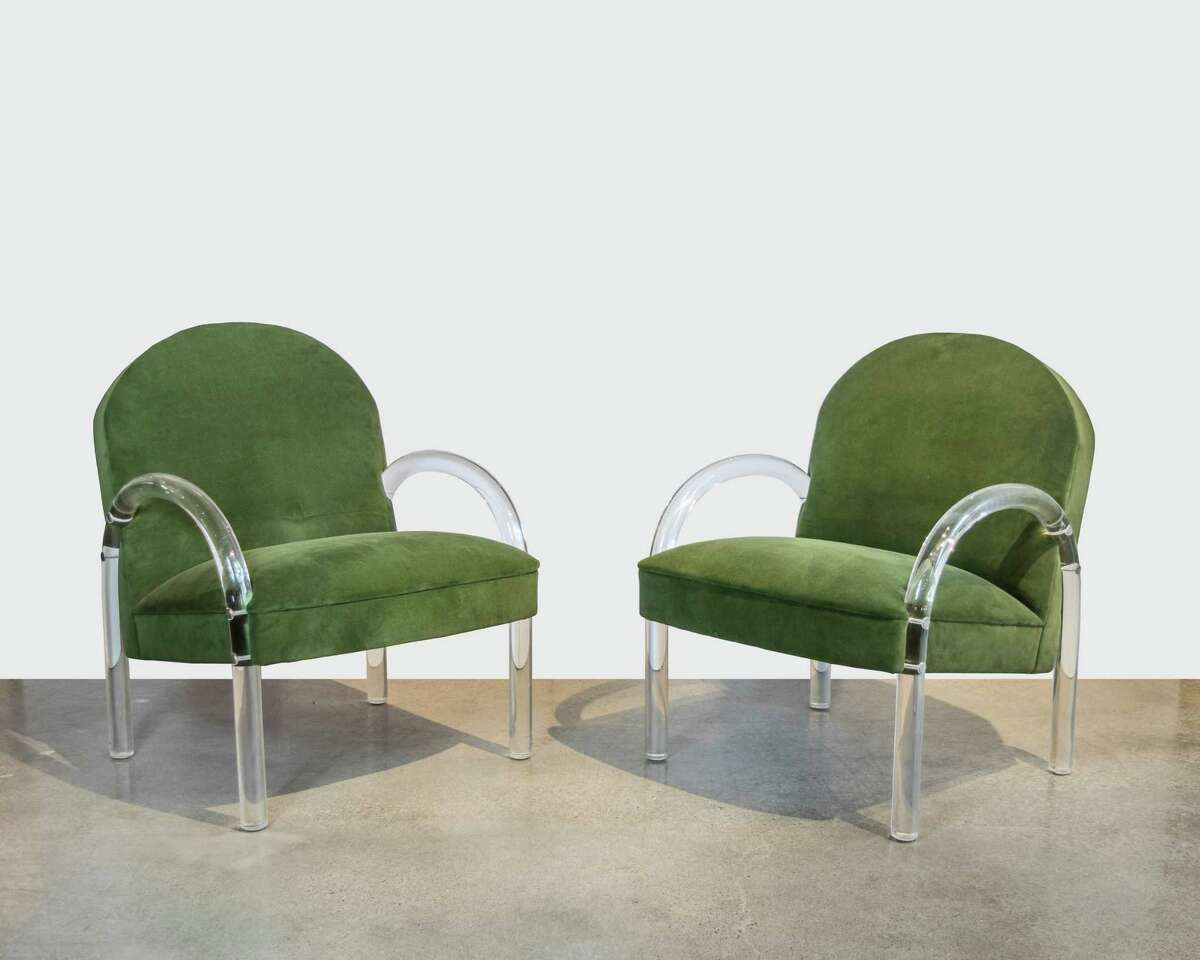 Pair of Pace Collection Lucite Club Chairs in Green Velvet - $2,800. Exceptional pair of Pace Lucite lounge chairs recently upholstered in Loden green velvet. Dimensions: W: 25 inches H: 33 inches D: 25 inches Seat Height: 17 inches