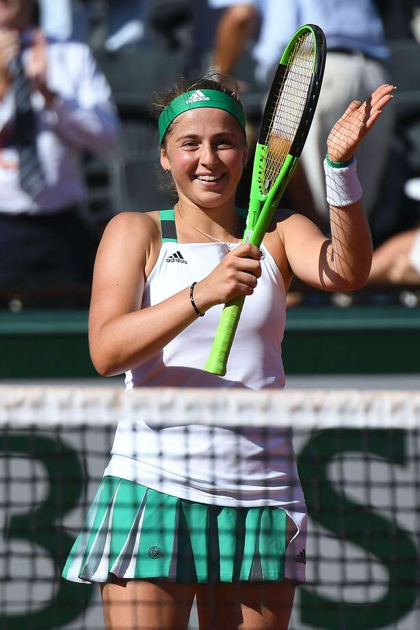 Latvia's Jelena Ostapenko celebrates after winning against Switzerland's Timea Bacsinszky during their semifinal tennis match at the Roland Garros 2017 French Open on June 8, 2017 in Paris.  / AFP PHOTO / FRANCOIS XAVIER MARITFRANCOIS XAVIER MARIT/AFP/Getty Images Photo: FRANCOIS XAVIER MARIT, AFP/Getty Images