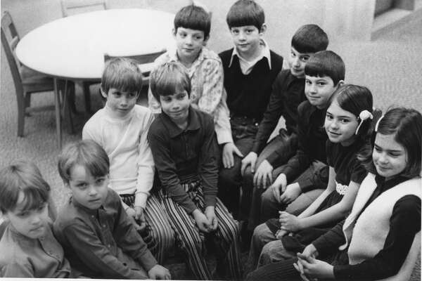 Teachers at Chippewassee and Windover elementary schools see double. Here are five sets of twins. From left are, Robin and Robert Allen, David and Jeff Powers, Gar and Rick Engle, Kurt and Karl Hogue, Carol and Margot Marden. January 1973
