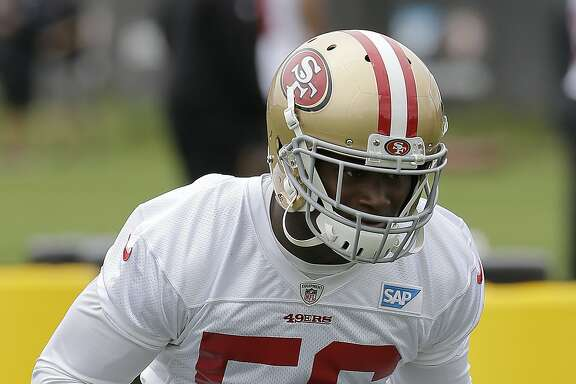 San Francisco 49ers' Reuben Foster during the team's organized team activity at its NFL football training facility in Santa Clara, Calif., Thursday, June 8, 2017. (AP Photo/Jeff Chiu)